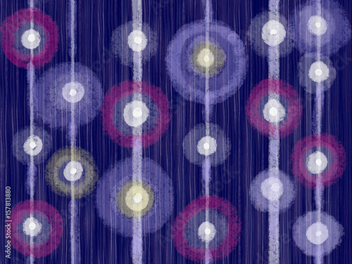 Colorful hand drawn blue stripe abstract oil color texture background with geometric violet circles, illustration of vertical lines painted by oil color and pastel on canvas, high quality © Iryna
