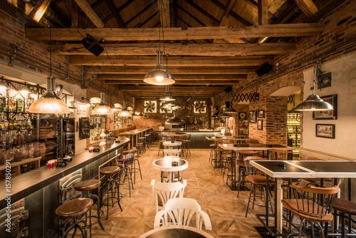 Retro wooden loft caffee restaurant