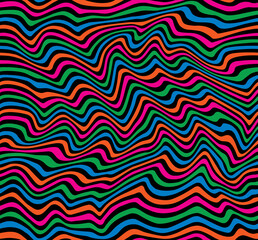Op Art Stripes Pattern in primary colors