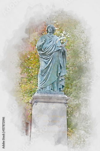 Fototapeta Monument of Nicolaus Copernicus in Torun, digital watercolor illustration