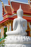 Buddha statue / View of Buddha statue in Thai temple. Rear view.