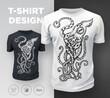 Black modern t-shirt print design with octopus