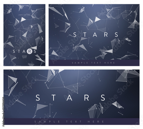 set of banner or flyer layouts 3d abstract mesh backgrounds with