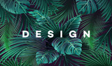 Fototapety Bright tropical background with jungle plants. Exotic pattern with palm leaves.