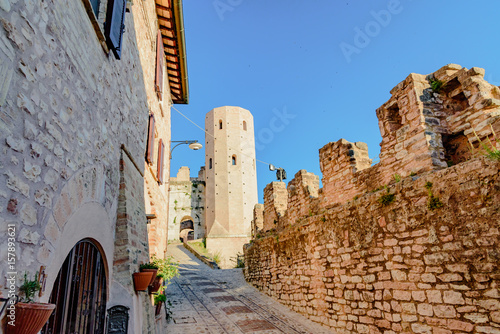 View of the city and small lanes of the town of Spello in Umbria Italy province of Perugia Italy