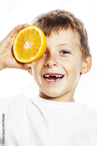 little cute boy with orange fruit double isolated on white smili Poster