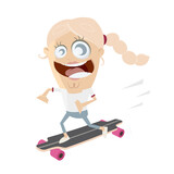 happy girl on skateboard