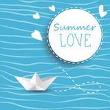 Summer love poster banner vector  illustration with paper boat
