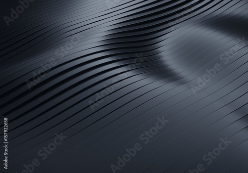 3D Rendering of Abstract Flowing Wavy Black Stripes Background with Soft Reflections and Shadows