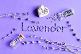 Dry lavender flowers collage