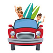 cartoon character travelers with vintage car with luggage on top vector illustration