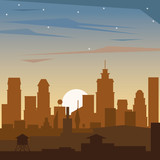 colorful background of dawn landscape of city vector illustration