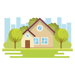 Beige small house view from outside with trees and city skyline vector illustration