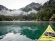 Kayaking in Alaskan Cove in Humpy Cove, Resurrection Bay near Seward, Alaska, USA