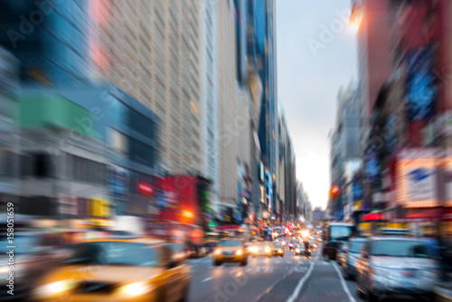 Foto op Plexiglas New York TAXI Blurred, defocused avenue parallel to Times Square in New York City