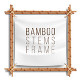 Bamboo Frame Template Vector. Good For Tropical Signboard. Empty Canvas For Text. Realistic Illustration.