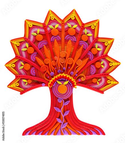 Plakat A fantastic fantasy tree of growth, life and development, made of plasticine