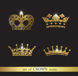 Set of vector gold crown icons.