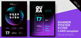 Fototapety Electronic Music Dark Covers for Summer Fest or Club Party Flyer. Colorful Waves Gradient Background. Template for DJ Poster, Web Banner, Pop-Up.