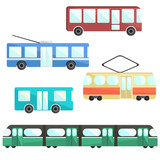 Flat colorful vector public transport set, public service vehicle, municipal mass transport