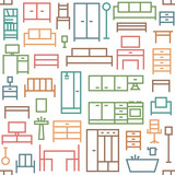 Furniture themed vector seamless outline pattern background 2 - 158101271
