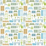 Vector furniture seamless pattern background 3 - 158101401