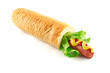 French Hot Dog with big sausage and fresh salad isolated on white background