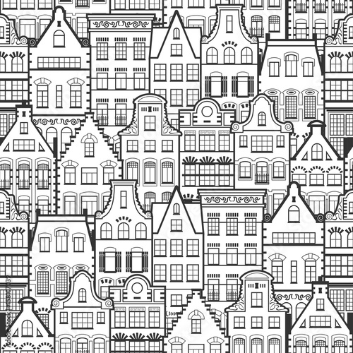 Seamless pattern of Holland old houses facades. Traditional architecture of Netherlands. Line style black and white vector isolated illustrations in the Dutch style. For coloring, design, background. - 158107039