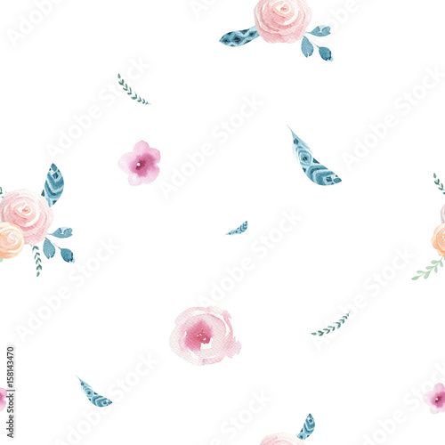 Watercolor seamless pattern with floral elements and dot memphis - 158143470