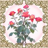 red roses in dark brown frame