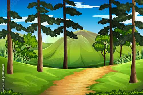 Plexiglas Lime groen Scene with tall trees and mountain