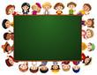 Blackboard with many kids around the border