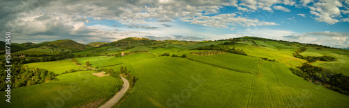 Beautiful panorama landscape of waves hills in rural nature, Tuscany farmland, Italy, Europe - 158173458
