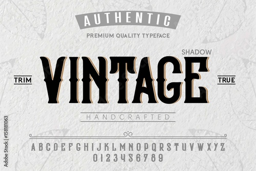 Font. Alphabet. Script. Typeface. Label.Vintage typeface. For labels and different type designs © vision_stock