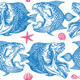 Fototapety Piranhas fishes profile, open mouth with sharp teeth and long tongue, sea star and shells, seamless pattern design, hand drawn doodle, sketch in pop art style, blue and purple on white background