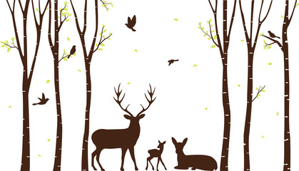 Birch Tree with deer and birds Silhouette Background