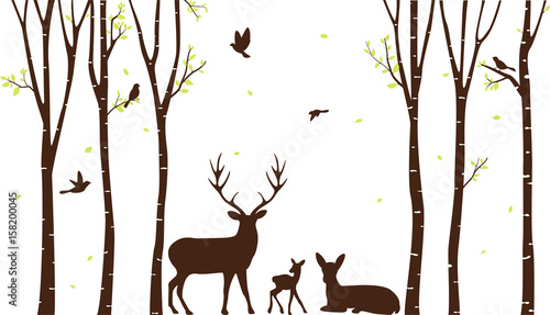 Birch Tree with deer and birds Silhouette Background - 158200045