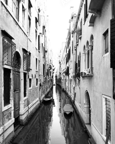 Fotobehang Venice Black and white canal view in Venice