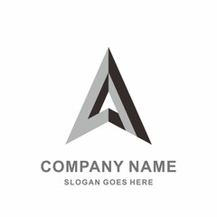 Geometric Triangle Pyramid Arrow Paper Plane Architecture Interior Building Business Company Stock Vector Logo Design Template