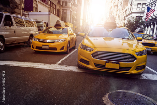Foto op Plexiglas New York TAXI Yellow Cabs NYC