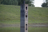 Concrete pillar for mooring on the river Danube