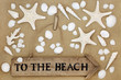 Rustic to the beach sign on sand background with starfish and a selection of seashells.