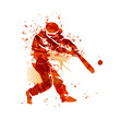 Vector watercolor silhouette of a baseball player