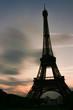 The Eiffel tower silhouette, Paris, France.