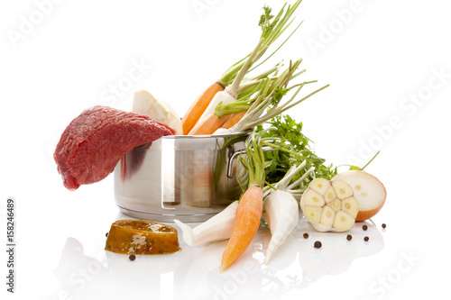 Raw vegetables with raw meat. Poster