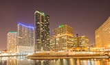 chicago illinois city skyline at night time