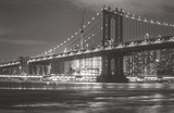 Manhattan bridge at night with black and white tone