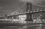 Manhattan bridge at night with black and white tone - 158253434