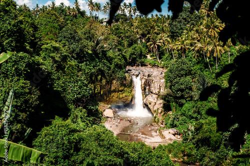 Papiers peints Bali Tegenungan Waterfall. Beautiful powerful waterfall in the midst of a dense green rainforest or jungle. Top view. Bali, Indonesia