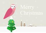 owl on the pine, Christmas poster, greeting card design
